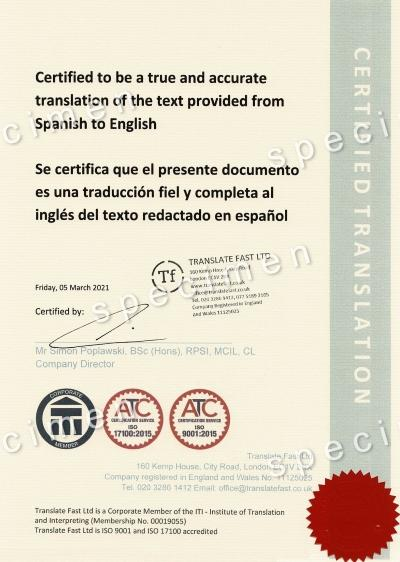 Translate Fast sample certified translation